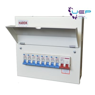 Harok - Amendment 3 Consumer Unit 8 Way C/w 100a Main Switch & 8 RCBOs - VUEP904