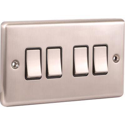 4 Gang Quad 10A Light Switch W04BSB