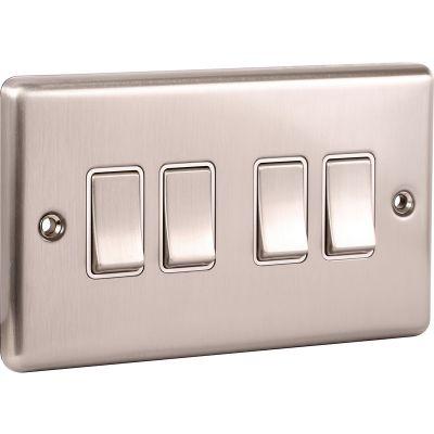 4 Gang Quad 10A Light Switch W04BSW